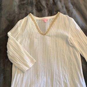 Vintage Lilly Pulitzer gold and white tunic top XL